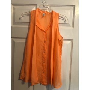 Vintage Orange Chiffon Tie-Front Blouse, small